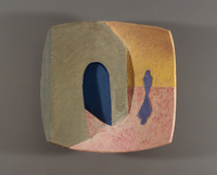 "Blue Tunnel Blue Figure, 2003, 21""x22""x10"", Ceramic"