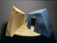 "Behind Blue Wall, 2002, 22""x18""x11"", Ceramic"