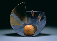 "Blue Stairs, Yellow Sphere, 1996, 20""x20""x6"", Ceramic"